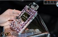 Luxury DIY Diamond Logo Perfume Bottle Case for iPhone 5 5S 4S Bling Handbag cover with leather lanyard 1PCS