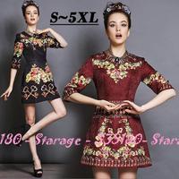 S-5XL Brand Luxury Keys Floral Print 3/4 Sleeve Slim 3D Jacquard Dresses 2014 New Autumn Fashion Plus Size Women Clothing G157