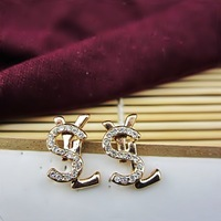 (Min order $15,can mix) Free Shipping Luxury Fashion Jewelry Rhinestone Letter Earring Style Stud Earrings.2pairs/pack.WX34