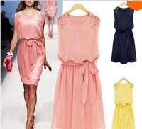 Women's Korean cultivating temperament commuter set beads sleeveless Chiffon Dress WO1154