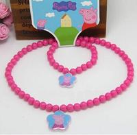 Peppa pig Flower Pendant necklaces bracelets set children Jewelry Sets red pepe pig cartoon cute Fashion Kids Jewelry 2014 NEW