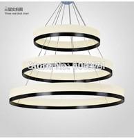 2014 New Arrival Modern LED Chandelier Light Fixture,Designer LED Large Pendant Lamp Black Ring Lighting for Hotel Project