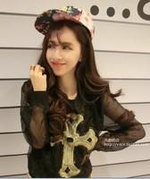 Lady's Fashion 2014 Summer Korean Full Regular Sleeve O-Neck Cross Print Sequined Shirts Free Shipping A501-2-2212#
