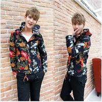 2 Color 2014 Winter Top Brand Fashion Men Jackets Floral Korean Man Printed Jacket Suits Hooded Manta Mens Slim Coat AX605 M-2XL