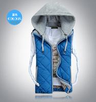 Hoodies vest Men's clothes Casual coat Twill design Detachable Fashion Trend Slim fit Free-shipping 2014 Autumn Winter