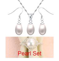 Sterling Silver Jewelry 100% Freshwater Pearl + Sterling Silver 925 Jewelry Sets Solid Silver Free Shipping JN50JE319+RINGS
