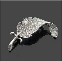 Wholesale Fashion  Cut Crystal Leaf Brooch 20pcs/lot