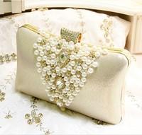 Vivi 2014 gold pearl bags rhinestone women's handbag bride clutch marry bag day clutch evening bag