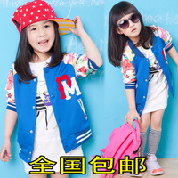 Children's clothing female child autumn 2014 cardigan child o-neck baseball uniform spring and autumn child outerwear