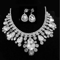 Free Shipping European Design Clear Teardrop Crystal Silver Plated Wedding Jewelry Sets including Choker Necklace and Earrings