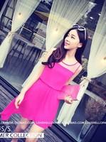 Lady's Fashion 2014 European Sleeveless O-Neck Patchwork Liner Above Knee Mini Asymmetrical Dress Free Shipping A501-2-2262#