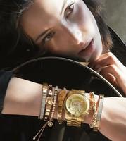 2014 New Design Girl Jewelry Metal Ball Beads Stretch Chain Bracelets & Bangle Luxury Kors Leather For Women Bracelet Jewellry