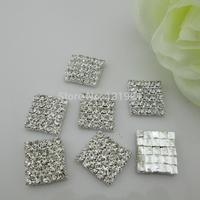 (FL256)Elegant Clear Square Rhinestone Crystal Button Embellishment Flatback For Garment Accessory