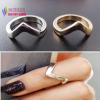 2014 popular ring fashion vintage punk gold silver zinc alloy simple V top above knukle finger rings for women bagues wholesale