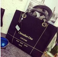 Handbags 2014 new canvas bag embroidered thick line hit color handbag shoulder bag   50% off