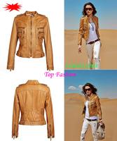 2014 brand PU faux leather clothing jacket women short jackets jaqueta de couro feminina slim Epaulet Jaquetas Motorcycle