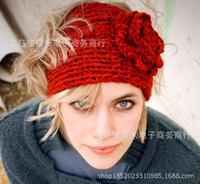 New Autumn women wool crochet camellia flower hairband winter brand braided woolen hat 20 colors headwear