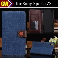 50pcs/lot For Sony Xperia Z3 COW BOY Jeans Style 3 Card Slots Stand Leather Case, Free Shipping