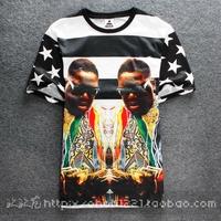 2014 male mens summer street fashion male short-sleeve o-neck cotton t-shirt short-sleeve 3d stripe hip hop brand t shirt