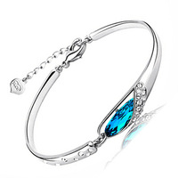 100% Sterling Silver 925 Jewelry Sea Blue Bracelets & Bangles Top Quality!! Free Shipping