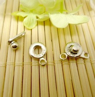 9mm Fashion Jewelry Accessories Good Quality Craft Copper Pearl Snap fastener Clasp Connector For Necklace Rhodium Plated 150pcs
