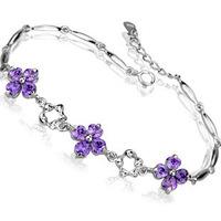 2014 New 100% Sterling Silver 925 Jewelry Clover Amethyst Bracelet Fine Jewelry Bracelets & Bangles Free Shipping