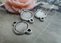 30pcs 10mm Antique silver Cameo Cabochon Base Setting Charm Pendant Alloy DIY jewelry accessories Free shipping B373