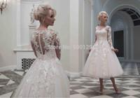 Fashionable Jewel Applique vestidos de noiva Ball Gown Tea Length Tulle Custom Made Long Sleeve Bride Wedding Dress 2015