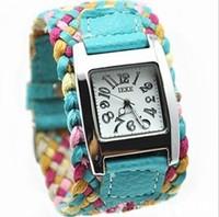 2014 new fashion quartz watch Popular multicolour ladies watches for women knitted rope watchband cheap watch women dress watch