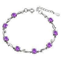AAA 100% Sterling Silver 925 Jewelry Amethyst Bracelet Female Silver Leaf Bracelet Free Top Quality!! Shipping