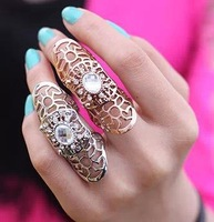 CMR001 Hotting And Popular Exaggerate Metal Texture Hollow Out Big Ring Crystal Large Ring