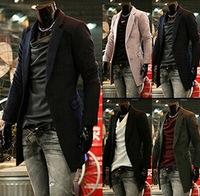 M-2XL 2014 Korean Long Men Wool Blends New Tops Brand Winter Dress Mens Warm Solid Blend Jackets Slim Leisure Coat Outdoor AX608