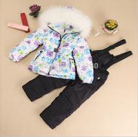 Russia 2014 Free Shipping Children's Winter Clothing Set Girl baby Ski Suit Windproof Flower Warm Coats Fur Jackets+Bib Pants