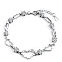 AAA 100% Sterling Silver 925 Jewelry Heart-shaped Bracelet Female Bracelet Genuine Top Quality!! Free Shipping