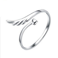 100% Sterling Silver Jewelry Lovely Female Models Ring Opening Angel Wings Ring Silver Ring Free Shipping