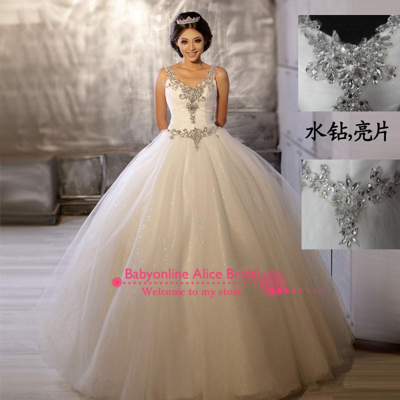 Große disocunt günstigen preis perlen kristall spitze stickerei mit v-ausschnitt glitzernden pailletten ballkleid hochzeitskleid unter 100$