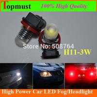 Free shipping 10pcs Canbus H11 10V-30VDC 3W 300LM 6500K High Power  Head light Led Vehicles Car Fog Light cree led headlamp