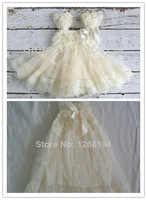 Ivory Toddler Girls Clothing Bow Decorate Baby Girls Dress Chiffon Ivory Lace Party Dress For 2-8T Free Shipping