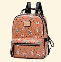 New Boys & Girls Backpack  Korean version Winnie Backpack  Cartoon Printed PU bag  College Wind bags