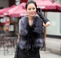 Women's Silver Fox Fur Vest & Waistcoats Short V-Neck Fox Fur Coat Jacket Plus Size Overcoat Spring Autumn Winter Free Shipping