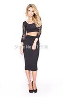 Fast delivery european fashion lace dress 2 piece bandage dress night club dress