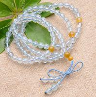 Free shipping ! High quality Aquamarine bracelets, 108 beads, transparent, 100% natural, fashion women jewelry bracelets