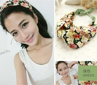 2014 new chiffon floral fabric cross handmade with long chiffon tie headband korea style hair accessories