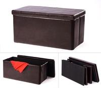 Double Large 2 Seater Faux Leather Ottoman Folding Storage Stool Box Pouffe Seat Brown Foldable Storage Ottoman