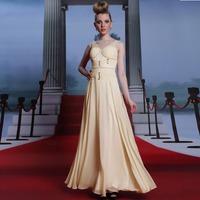 New Champagne Long Chiffon Prom Dress Women V Neck Cap Sleeve Gorgeous Crystal Formal Dress Long Evening Dresses Free Shipping