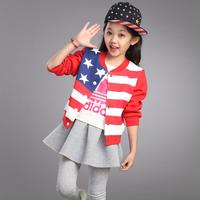 Children's clothing female child autumn 2014 spring and autumn outerwear child jacket sweatshirt child cardigan baby top