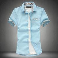 Summer linen shirt male plus size plus size fluid short-sleeve shirt floral print shirt men's clothing