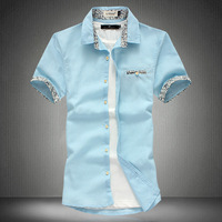 Summer linen shirt male plus size plus size fluid short-sleeve shirt floral print shirt men's clothing