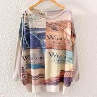 New Autumn Fashion Women Batwing Sleeve Knitted Geometric Eiffel Tower Print Sweater Coat Jumper Pullover Knitwear Tops ST01A36
