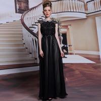 New Black Long Chiffon Prom Dress Women O Neck Crystal Appliques Gorgeous Evening Dresses Formal Dress Free Shipping